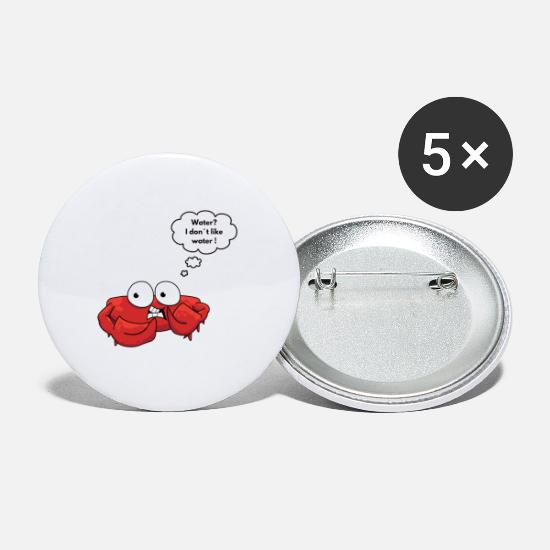 Birthday Buttons - scared crab - Small Buttons white