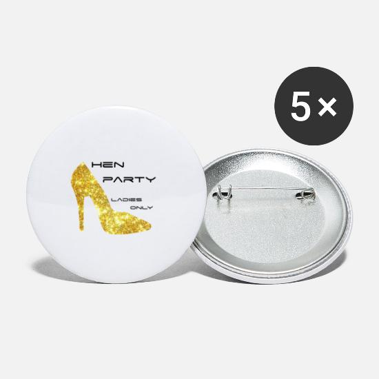Party Machen Buttons & Anstecker - hen party gold high heel - Buttons klein Weiß