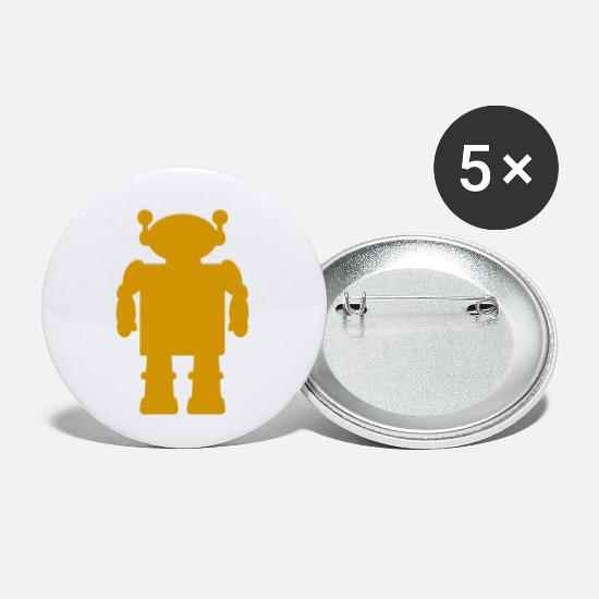Game Buttons - robot - Small Buttons white