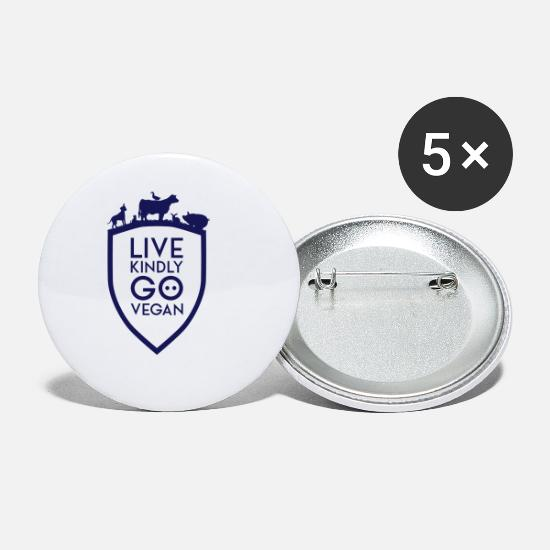 Shield Buttons - LIVE KINDLY GO VEGAN SHIELD - Small Buttons white