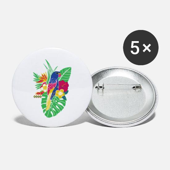 Perroquet Badges - gaya fleur perroquet - Petits badges blanc