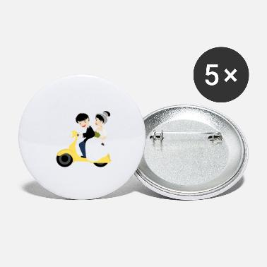 Wedding Couple Wedding marriage couple moped - Small Buttons