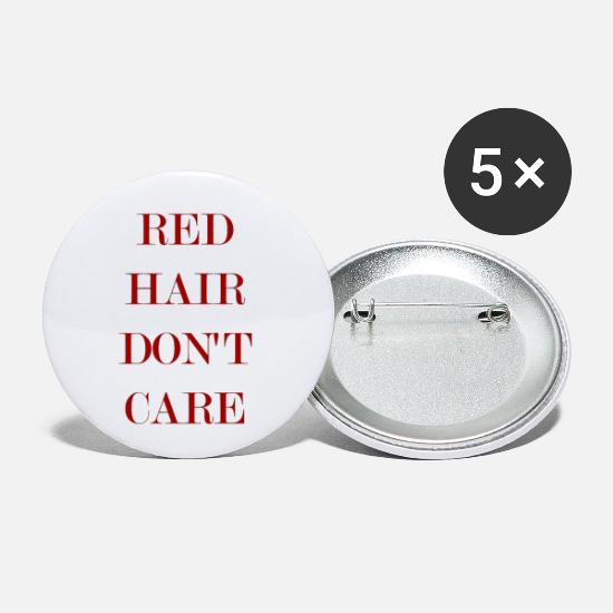 Scissors Buttons - Red Hair Dont Care Hair - Small Buttons white