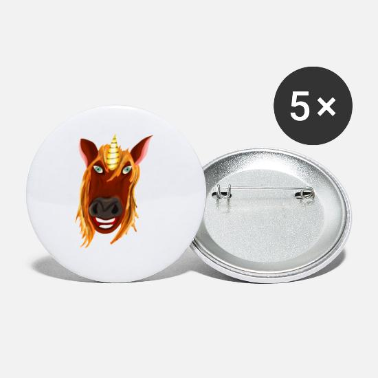 Gift Idea Buttons - Unicorn head of a mythical animal horse with horn - Small Buttons white