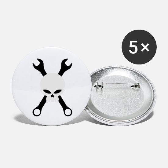 Garage Buttons - Skull and tools - Small Buttons white