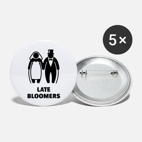 Hen Night Buttons - Late Bloomers (Mature Couple / Wedding) - Small Buttons white