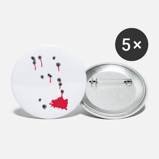 Red Buttons - bullet holes da427 - Small Buttons white