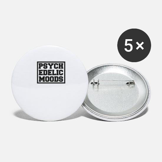 Trend Buttons - Psychedelic Drugs Mind Brain Trend Logo Fashion - Small Buttons white