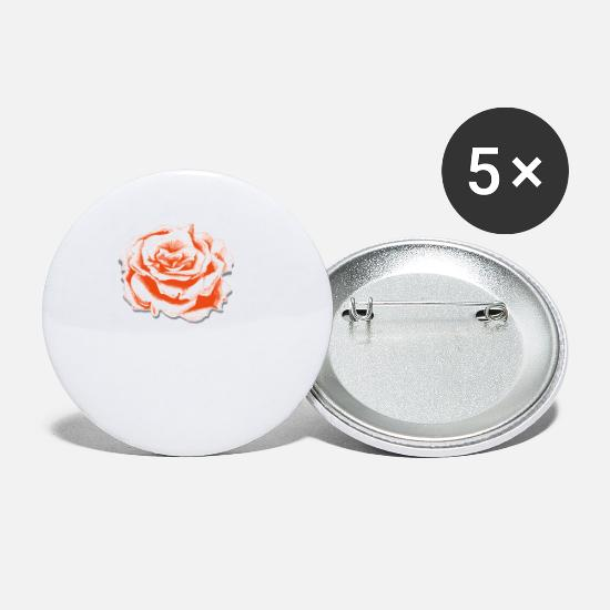 Red Buttons - Rose drawing - Small Buttons white