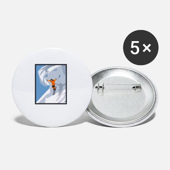 Winter Sports Buttons - ski - Small Buttons white