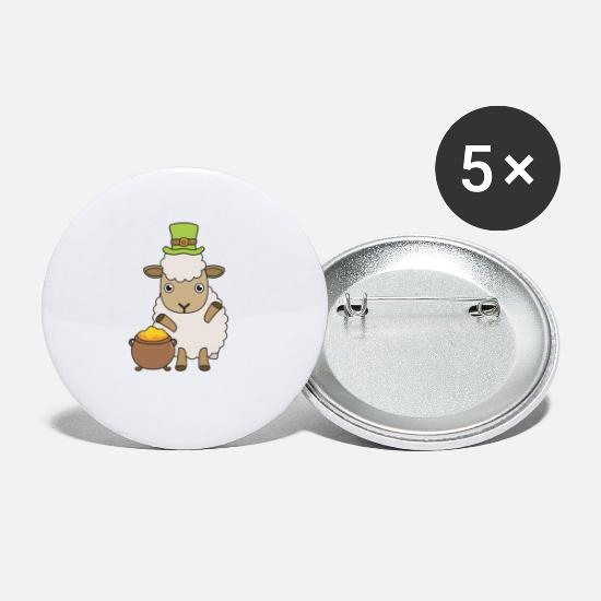 Love Buttons - Cartoon St Patricks Day sheep I love Ireland - Small Buttons white