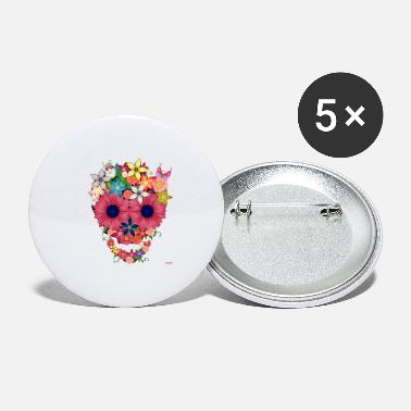 Wam skull flowers by wam - Small Buttons
