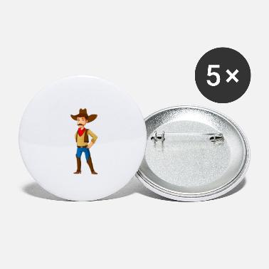 Cool Polis Cowboy Western Sheriff Cartoon Comic Kid Gift - Små knappar