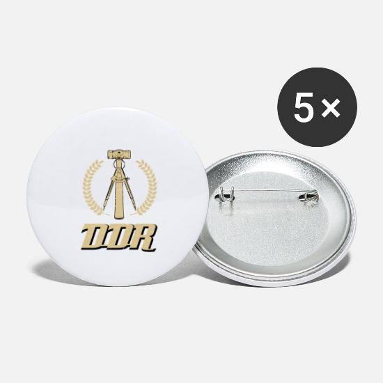 Nostalgia Buttons - GDR hammer and compass in retro style - Small Buttons white