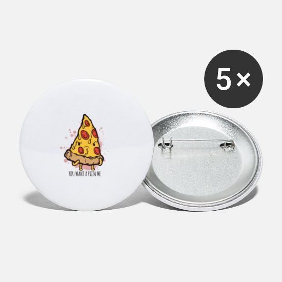 Pizza Buttons - Mad pizza pizza piece with you want to eat me - Small Buttons white