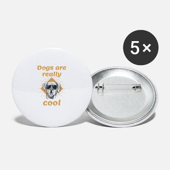 Hundekopf Buttons & Anstecker - Dogs are really cool Hundefreund Shirts & Geschenk - Buttons klein Weiß