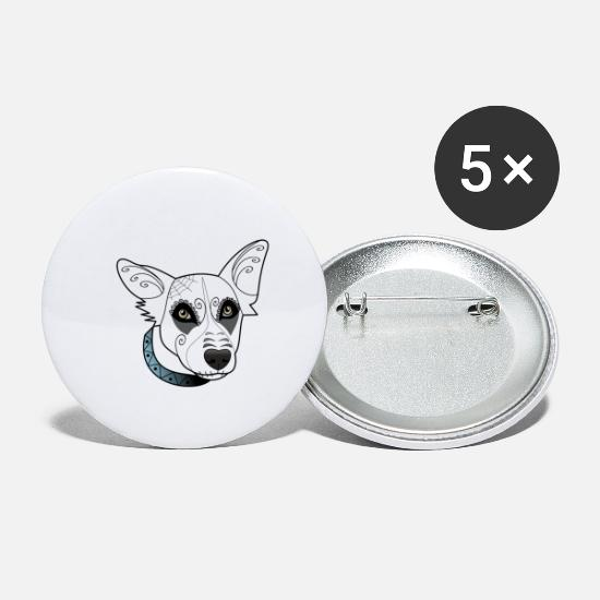 Santa Buttons - Border Collie Orthos - Santa Muerte - Small Buttons white