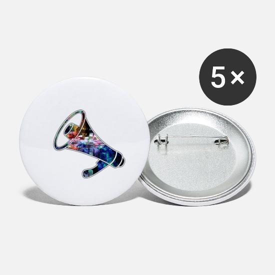 Megaphone Buttons - The Mega Phone of the party - Small Buttons white