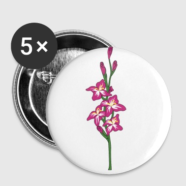 rosa Gladiole - Buttons klein 25 mm