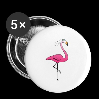 Pink Flamingo Fiances Bride + Groom - Buttons small 25 mm