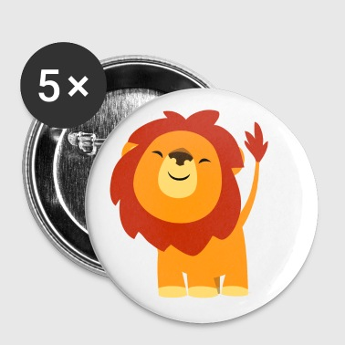 Cute Euphoric Cartoon Lion by Cheerful Madness!! - Buttons small 25 mm