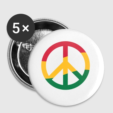 Peace Sign Rastafarian Reggae Music Peace Pace - Buttons small 25 mm