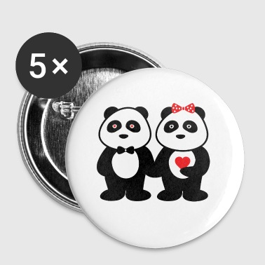 Paare panda in love - Buttons klein 25 mm