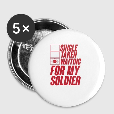 Militær / soldat: Enkelt, Taken, Venter på min - Buttons/Badges lille, 25 mm