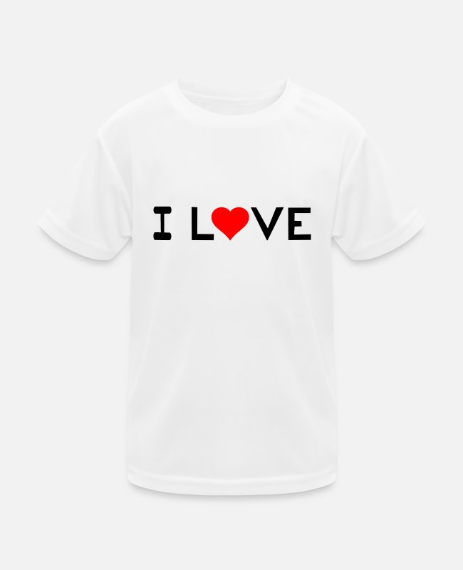 Heart T-Shirts - I love - Kids Functional T-Shirt white