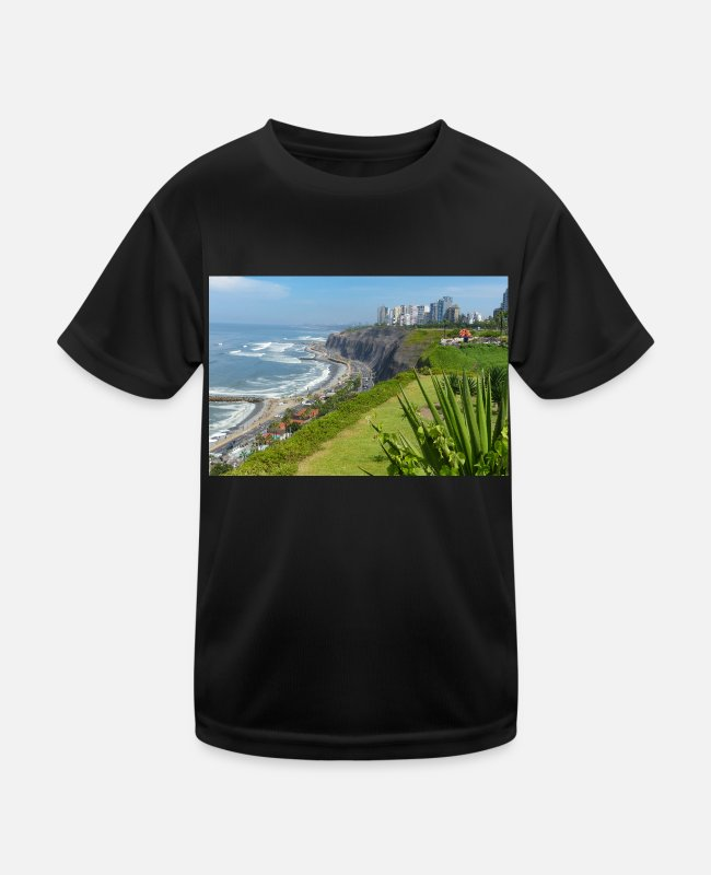 Site T-Shirts - Coastline of Lima Capital of Peru - Kids Functional T-Shirt black