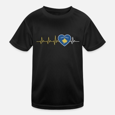 HEART BEAT KOSOVO KOSOVARE ECG FLAGGE GIFT - Kids Functional T-Shirt