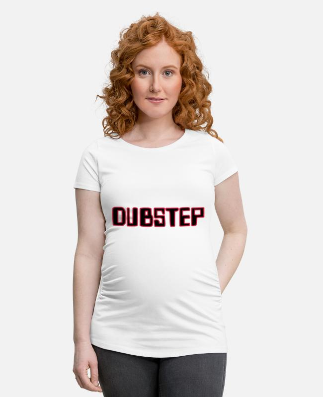 Dub T-Shirts - Dubstep Dub Bass Outlined - Schwangerschafts-T-Shirt Weiß