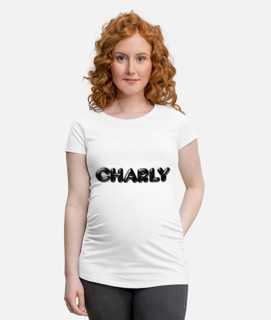 Name Day T-Shirts - Charly Charlotte Karl Surname First name - Maternity T-Shirt white