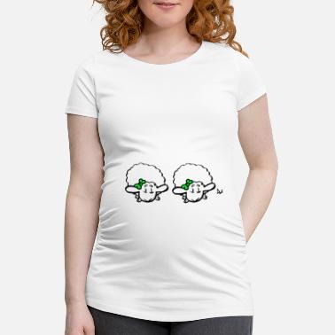 Lamb Baby Lamb Twins (green & green) - Maternity T-Shirt