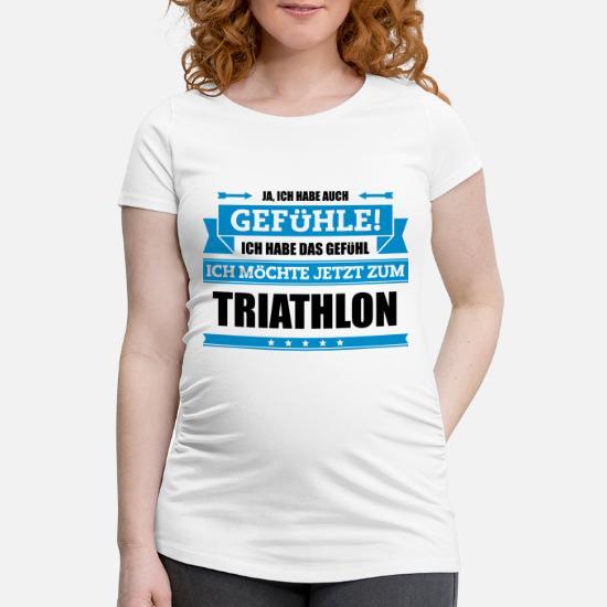 Lustiger Triathlon Spruch Frauen Schwangerschafts T Shirt Schwarz