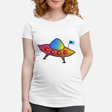 Scifi UFO, flying saucer, spaceship, scifi - Maternity T-Shirt
