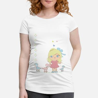 Girl with dogs - Maternity T-Shirt