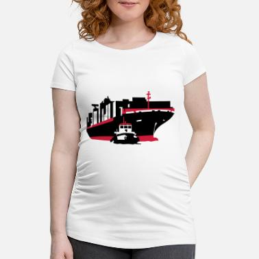 Containerschiff container ship - Maternity T-Shirt