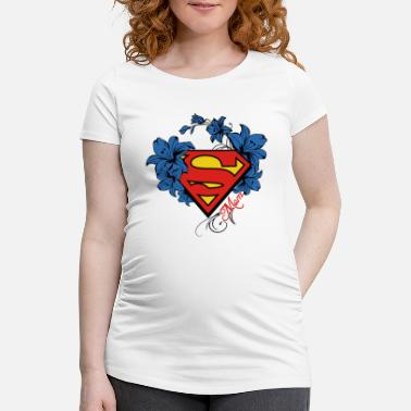 Superman Super Mom Flowers Red - T-shirt de grossesse Femme