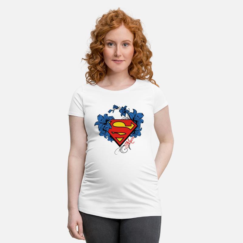 Schwangerschaft T-Shirts - Superman Super Mom Flowers Red - Schwangerschafts -T-Shirt 6a6108aa5b
