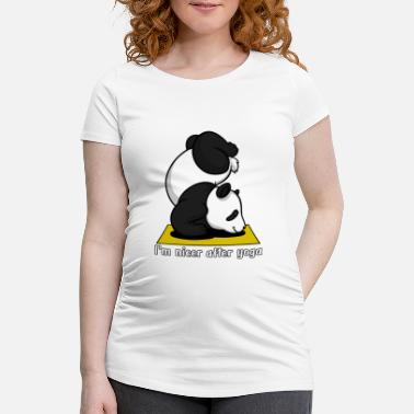 Yoga Cute Panda Bear Yoga Workout - Maternity T-Shirt