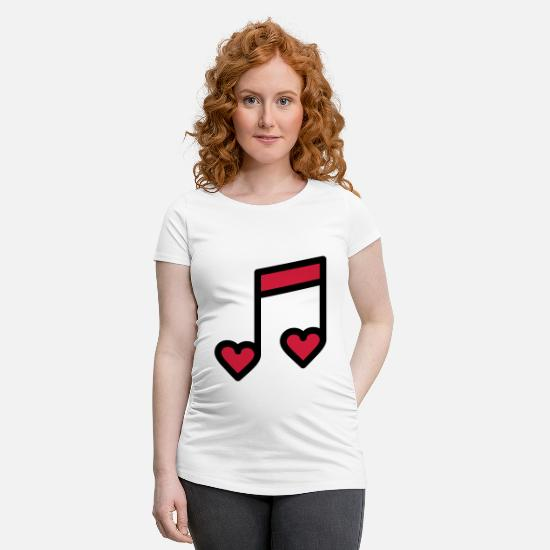 Engagement T-Shirts - Romantic music note - Maternity T-Shirt white