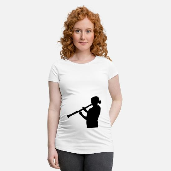 Player T-Shirts - clarinet instrument - Maternity T-Shirt white