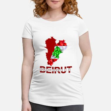 Triangle Liban carte coeur Beyrouth low poly - T-shirt de grossesse