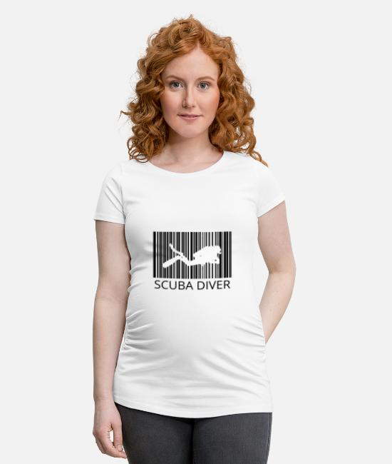 Birthday T-Shirts - Diver Barcode Diving Scuba Diver Gift - Maternity T-Shirt white
