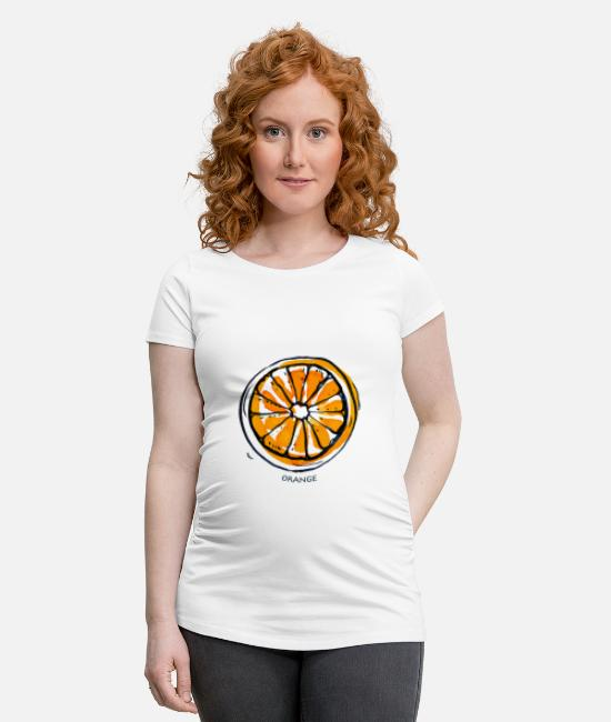 De Fruits T-shirts - Fruit de fruit orange Fruit - T-shirt de grossesse blanc