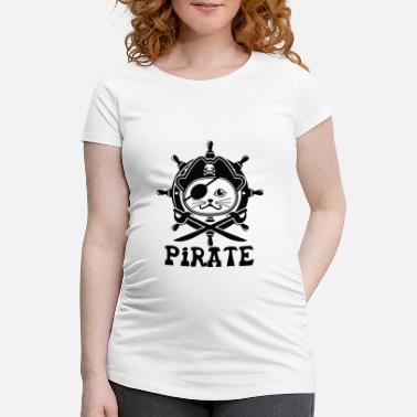 Wine pirate cat - Maternity T-Shirt