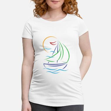 Sail Boat Sailboat Ship Sport Boat Sailing Sailing Boat - Maternity T-Shirt
