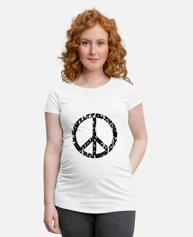 Love T-Shirts - Peace, peace sign, peace, dove of peace - Maternity T-Shirt white