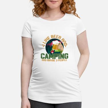 Liquor Camper Drinking Beer Wilderness Campfire - Maternity T-Shirt